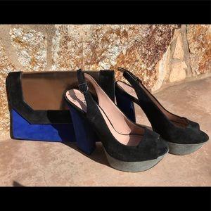 Vince Camuto Platform Heels & BCBGmaxazria Clutch